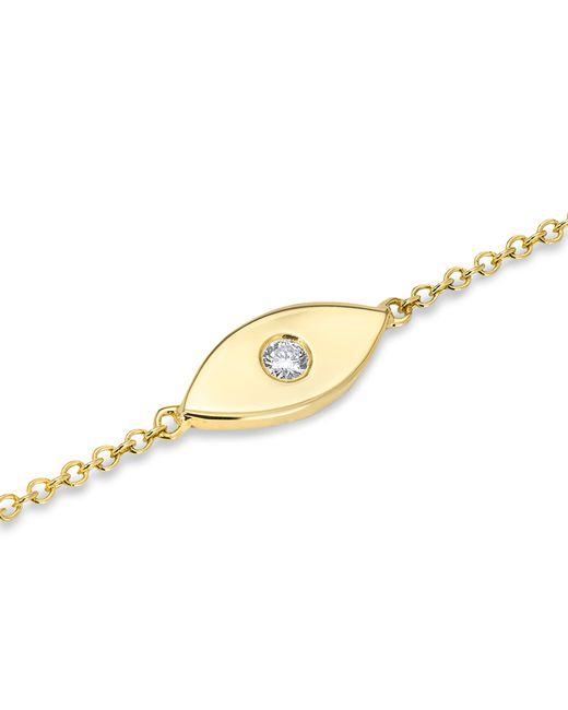 Anne Sisteron - Metallic 14kt Yellow Gold Diamond Solid Evil Eye Bracelet - Lyst