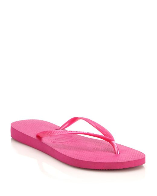 Havaianas | Pink Slim Rubber Flip Flops | Lyst