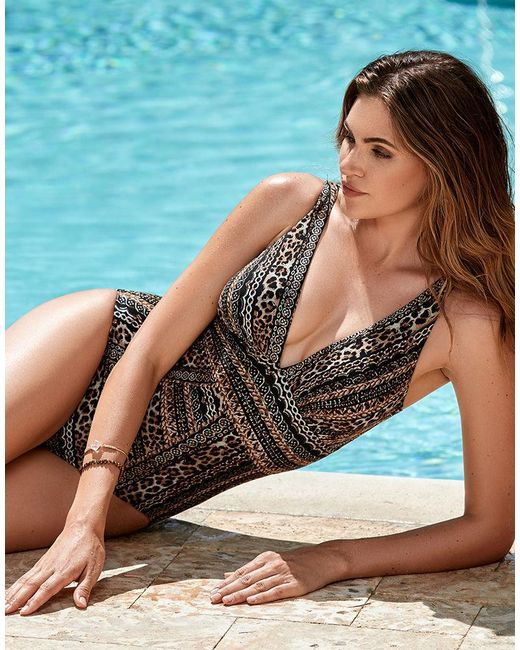 Miraclesuit - Brown Lionessa Odyssey Animal Print Plunge Shaping One-piece Swimsuit - Lyst