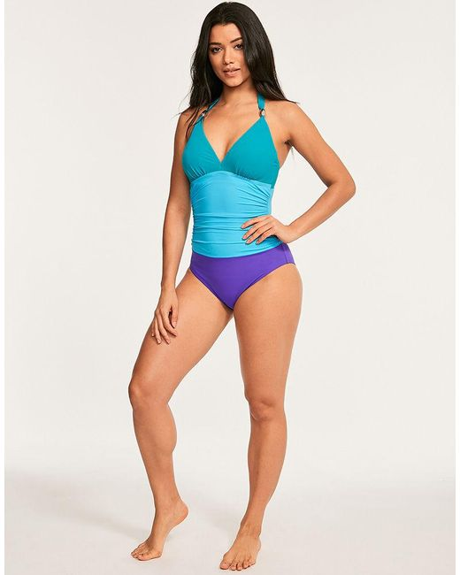 54e289aacecb6 ... Figleaves - Blue Colourblock Underwired Shaping Halter Swimsuit D-GG Cup  - Lyst ...