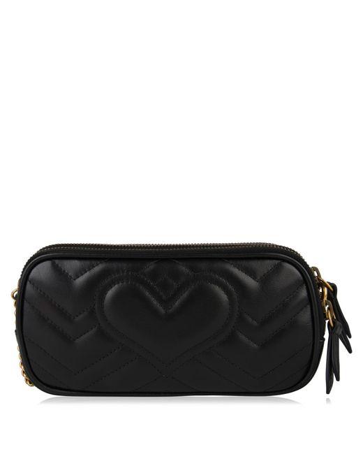 5a0428197ec ... Gucci - Black Gg Marmont Mini Cross Body Bag - Lyst ...