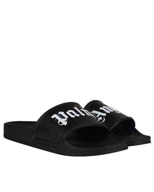 4a3cf4c65eab Palm Angels Black Logo Pool Slides in Black for Men - Save ...