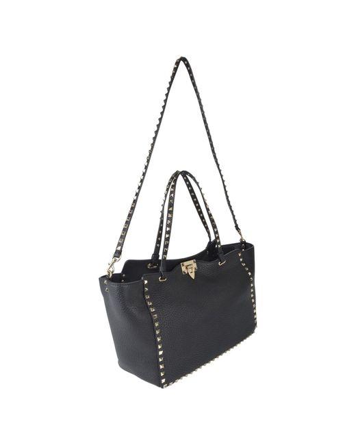 7fde8ab7a ... Valentino - Black Rockstud Shopper Tote Bag - Lyst ...
