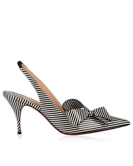 Christian Louboutin Black Clare Nodo Striped Bow Slingback Heels