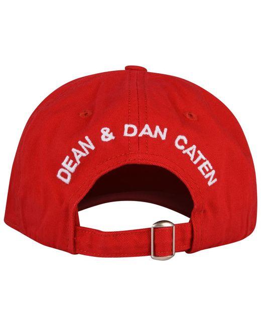 5470ad31318b32 ... DSquared² - Red Logo Baseball Cap for Men - Lyst ...