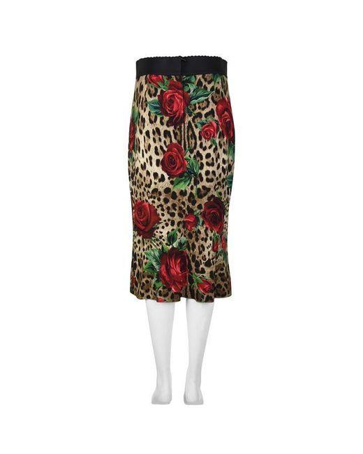6033f5958 ... Dolce & Gabbana - Multicolor Leopard Print Rose Pencil Skirt ...