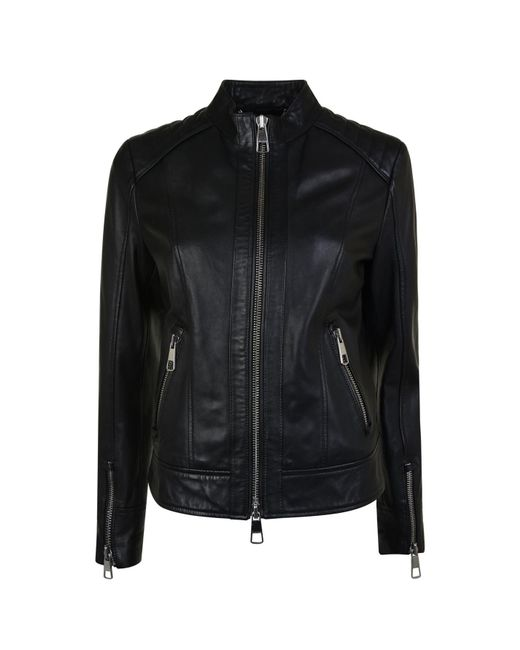 BOSS by Hugo Boss - Black Biker Lambskin Nappa Leather Jacket - Lyst