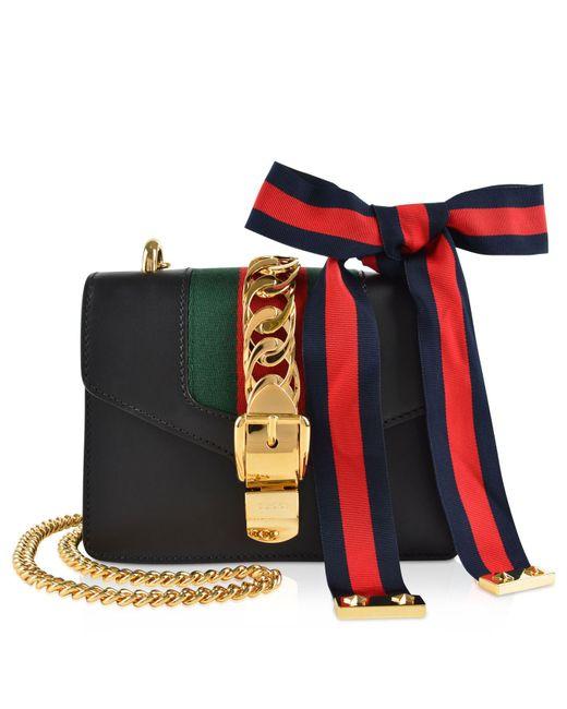 fe353325054ce1 Gucci Sylvie Mini Chain Bag in Black - Save 11% - Lyst