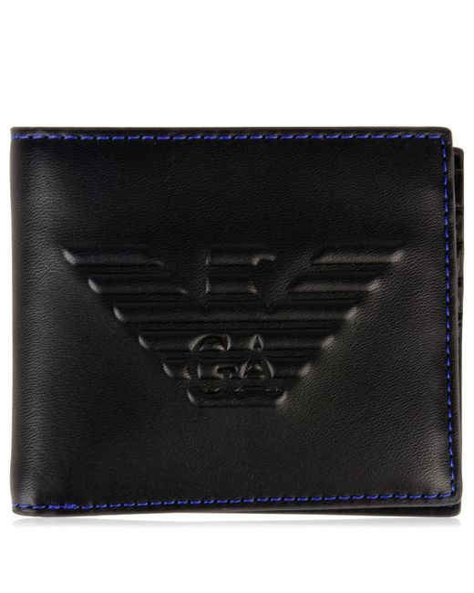 Emporio Armani - Black Eagle Debossed Wallet for Men - Lyst