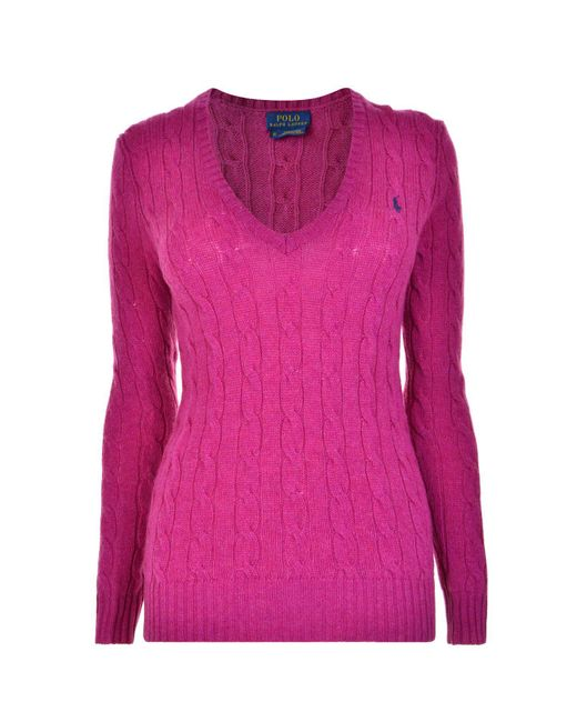 Polo Ralph Lauren - Pink Cable Cotton Knit Jumper - Lyst