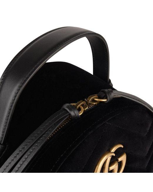 7490ea586f1d Lyst - Gucci Velvet Marmont Backpack in Black - Save 21%