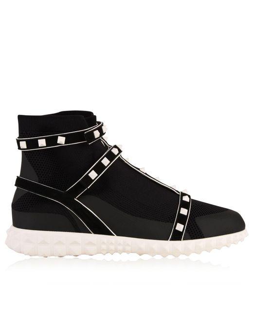 Rockstud Bodytech Hightop Sneakers in Red Nylon and Plastic Valentino CHnXp0XKM
