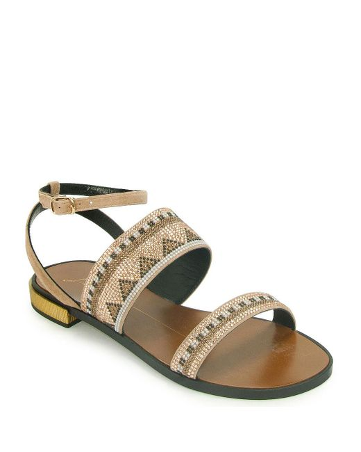 Lola Cruz | Metallic Beaded Sandal | Lyst