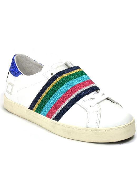 D.A.T.E. Originals - White Leather Elastic Sneaker - Lyst