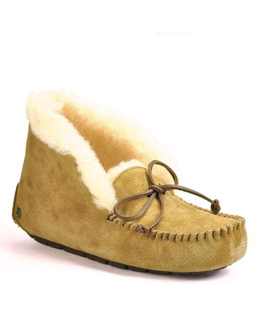 Ugg | Brown Suede Tie Slippers | Lyst
