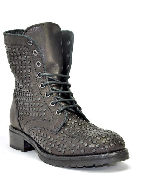 275 Central - Black Studded Leather Lug Sole Ankle Boot - Lyst