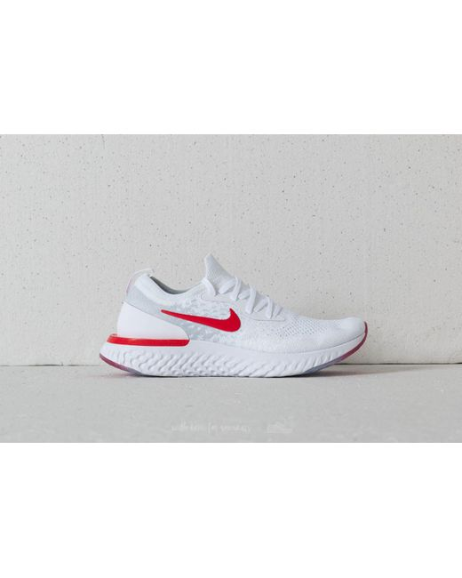 b943efd456cd ... authentic nike epic react flyknit gs white university red for men lyst  b847d d6df1