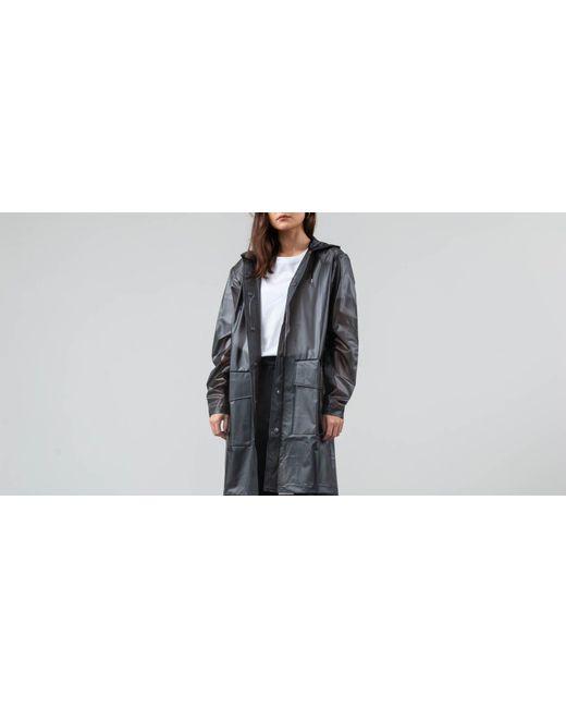 Rains - Hooded Coat Foggy Black - Lyst
