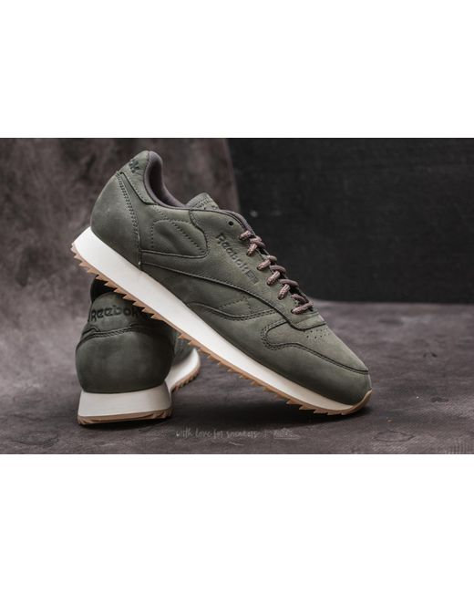 Reebok CL Leather Ripple SN Coal/ Powder Gry/ Classic White