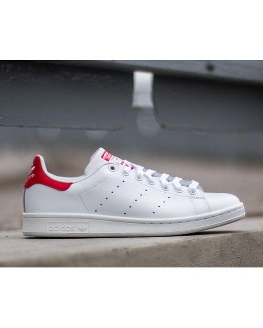 63c90cabb71111 ... Adidas Originals - Adidas Stan Smith Running White  Running White  Red  - Lyst ...