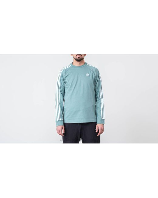 9f13a9a0f0 Adidas Originals - Blue Adidas 3-stripes Longsleeves Tee Vapour Steel for  Men - Lyst ...