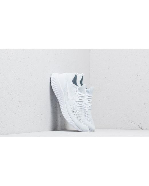 54cefac8fde0 Nike - Epic React Flyknit True White  White-pure Platinum for Men - Lyst ...