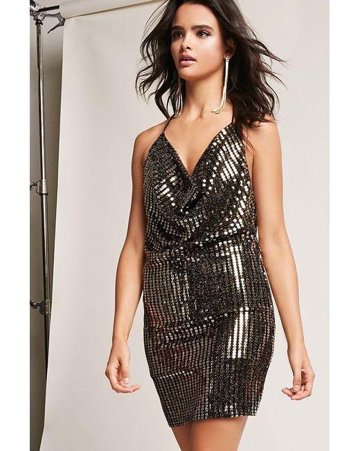 4cd0773f085 Lyst - Forever 21 Metallic Sequin Halter Dress in Metallic