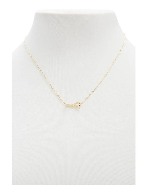 Forever 21 | Metallic Pave Ribbon Pendant Necklace | Lyst