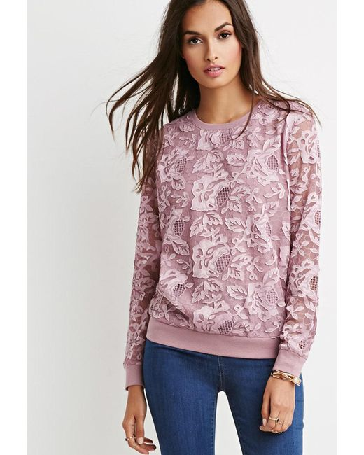Forever 21 | Purple Embroidered Mesh Layered Pullover | Lyst