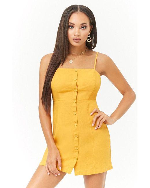 Forever 21 - Yellow Linen-blend Mini Dress - Lyst