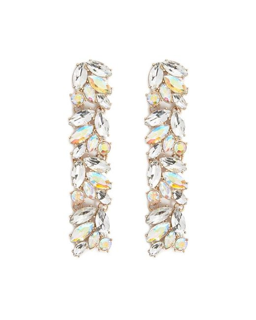 Forever 21 - Metallic Faux Gem Drop Earrings , Gold/clear - Lyst