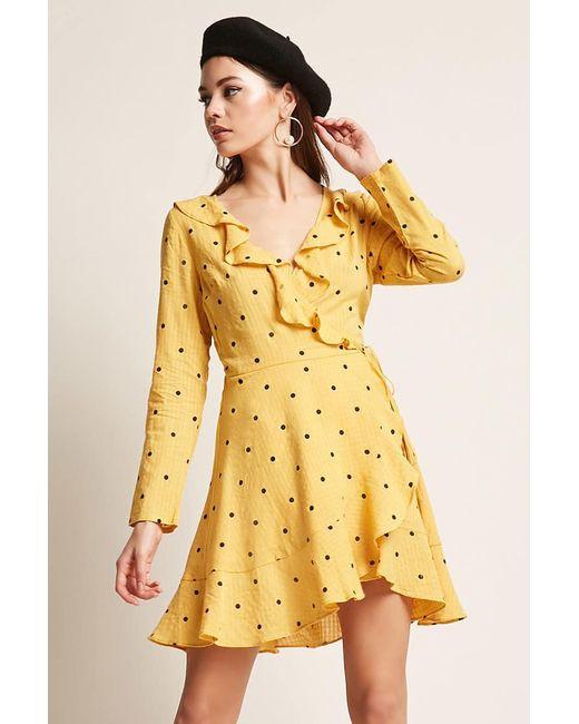Forever 21 - Yellow Selfie Leslie Polka Dot Dress - Lyst