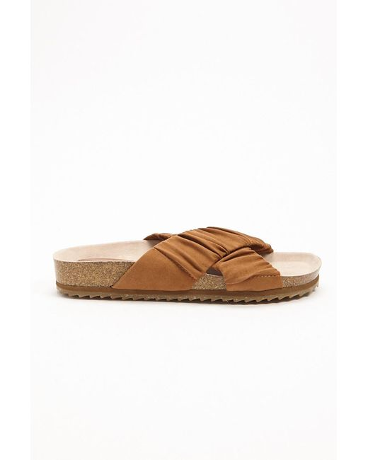 b7ac83fc1b9 Forever 21 - Brown Faux Suede Crisscross Slides - Lyst ...