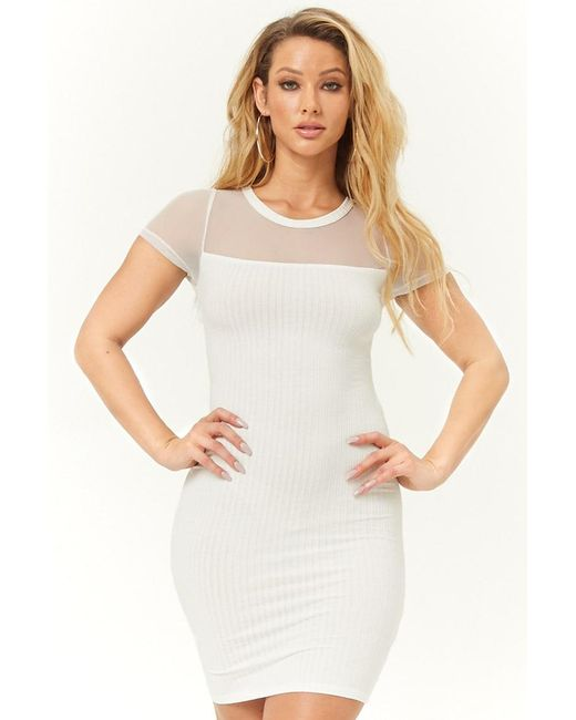 a75a3af90c7 Forever 21 - White Sheer-yoke Ribbed Knit Dress - Lyst ...