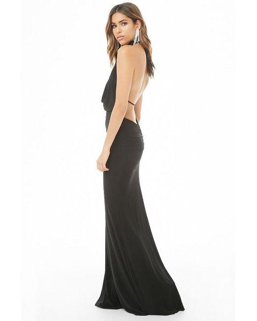 84104697bd0 ... Forever 21 - Black Draped Mock Neck Maxi Dress - Lyst