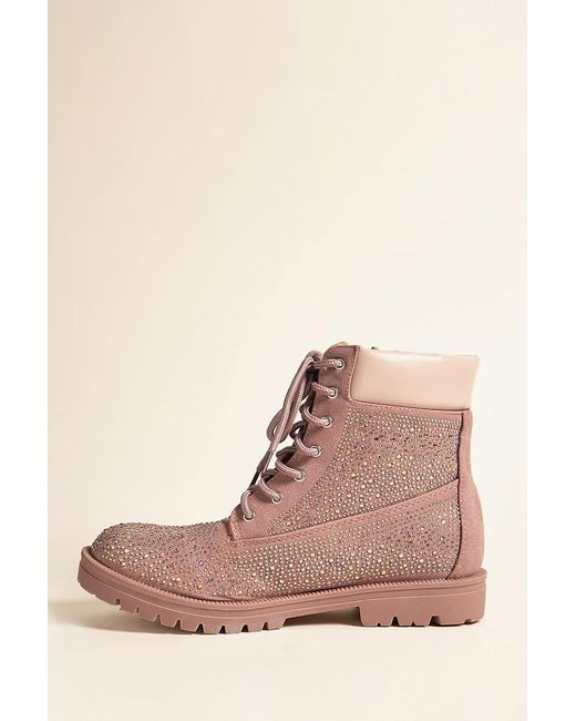 ... Forever 21 | Brown Embellished Faux Suede Ankle Boots | Lyst ...