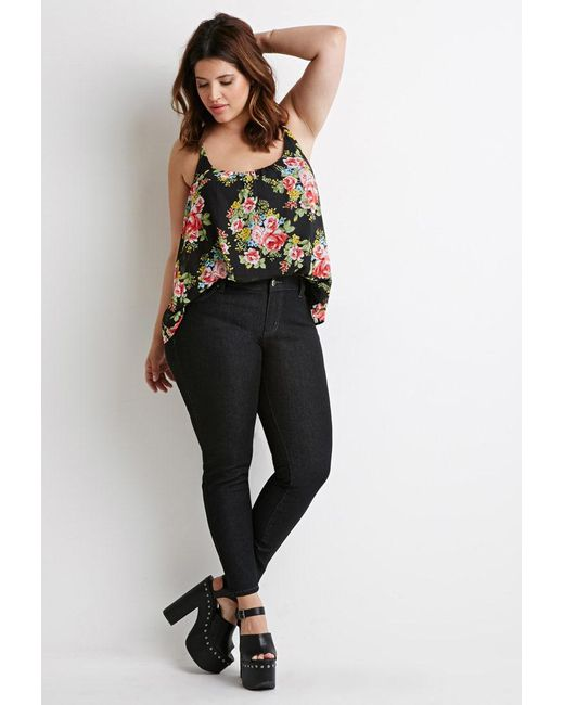Forever 21 | Black Plus Size Classic Skinny Jeans (short) | Lyst