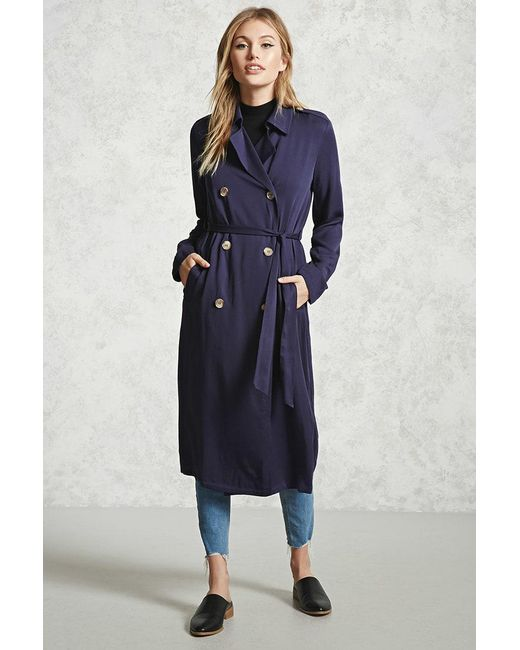 Forever 21 | Blue Double-breasted Trench Coat | Lyst