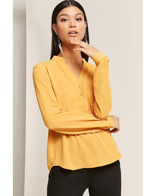 Forever 21 - Yellow Button-front High-low Top - Lyst