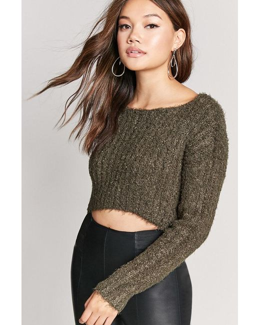 Forever 21 - Green Fuzzy Boucle Knit Jumper Sweater - Lyst