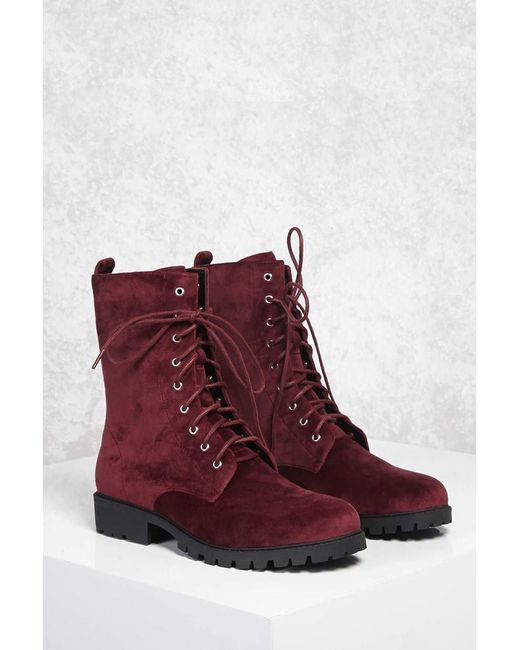 Forever 21 | Red Faux Suede Combat Boots | Lyst