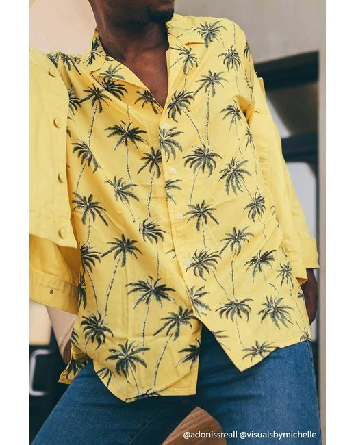Forever 21 - Yellow Palm Tree Shirt for Men - Lyst