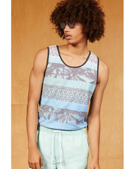 Forever 21   Blue Ocean Current Abstract Tank Top for Men   Lyst