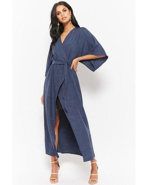 Forever 21 - Blue Tulip Kimono Maxi Dress - Lyst