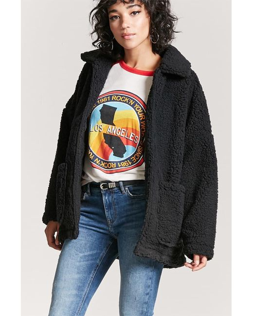 Forever 21 | Black Open-front Faux Shearling Coat | Lyst