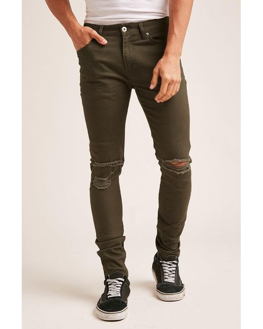Forever 21 | Green Distressed Knee Skinny Jeans for Men | Lyst
