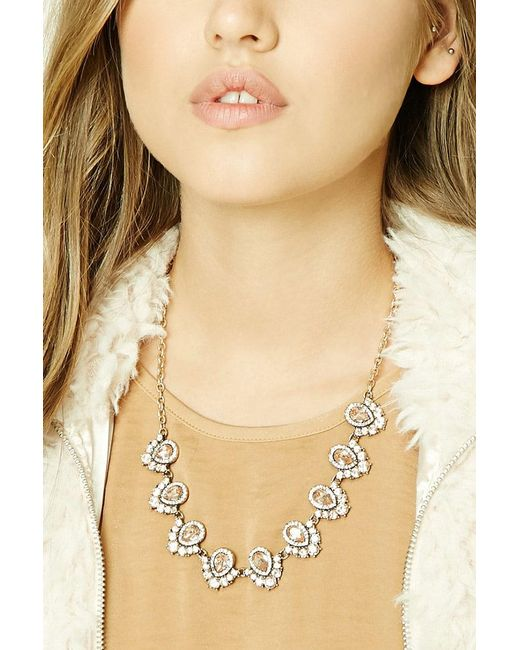 Forever 21 | Metallic Ornate Faux Gem Necklace | Lyst