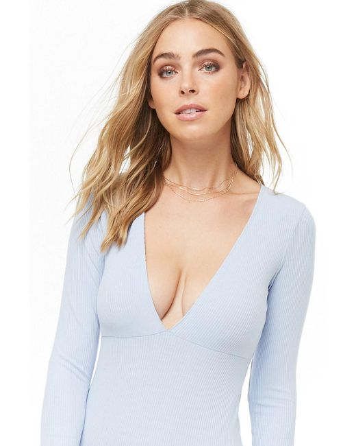 Forever 21 - Blue Plunging Ribbed Knit Bodysuit - Lyst ... 8507e9f03
