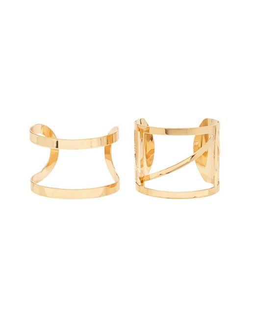 Forever 21 | Metallic Geo Cutout Cuff Bracelet Set | Lyst