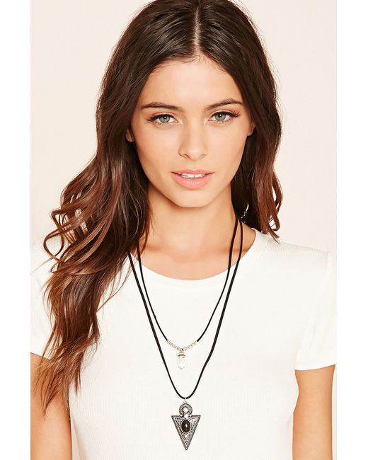 Forever 21   Black Arrow Pendant Layered Necklace   Lyst